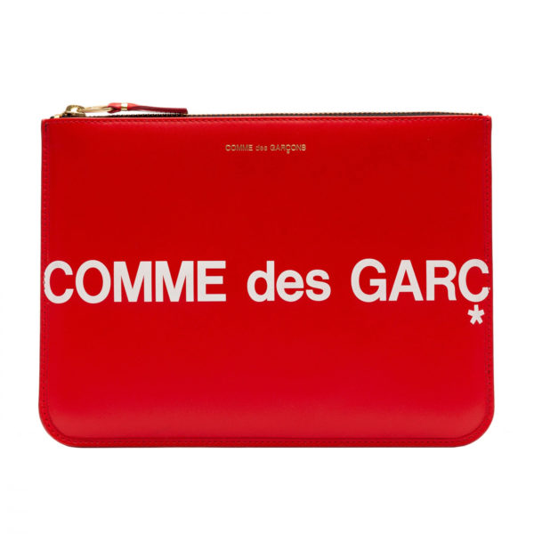 comme des garcons wallet huge logo red sa5100hl