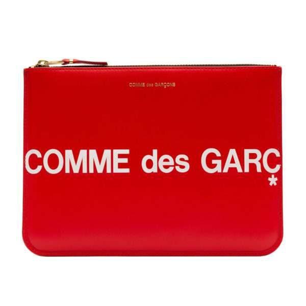 comme des garcons wallet huge logo red sa5100hl